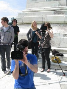 On set in DC during a college Spring Break